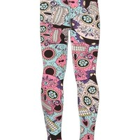 Girls Sugar Skull Leggings Skull Candy Pink/Blue/Black: S/L