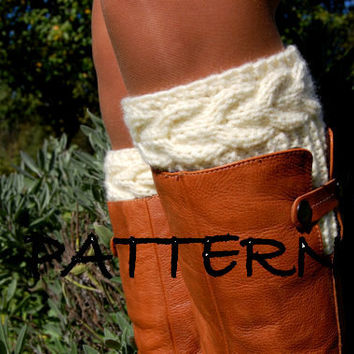 KNITTING PATTERN - Women' Cable Knit Boot Cuffs Pattern