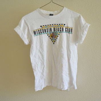 Wisconsin Beach Club Tee Oversized Vintage 90s M