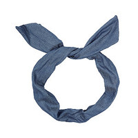 Blue Denim Wire Bow Headband