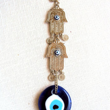 Hamsa Keychain Positive Energy Keychain with Nazar and Turkish Evil Eye Good Luck Bead Yoga Meditation Namaste Accessories Positive Energy