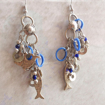Long Fish Earrings Pierced Drop Silver Tone Made in India Blue Vintage 030814PO