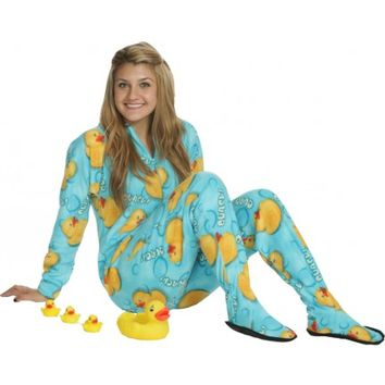 Quack! GLOW Adult Matching Footed Pajamas - Snug As A Bug