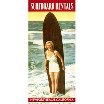 Personalized Newport Beach Surfboard Rentals Wood Sign