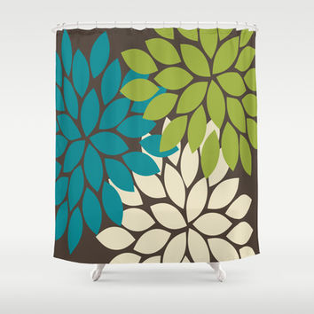 Bold Colorful Biege Brown Teal Green Dahlia Flower Burst Petals Shower Curtain By TRM Design
