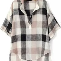Black and Beige V -Neckliner Plaid Blouse