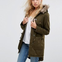 QED London Parka With Faux Fur Hood