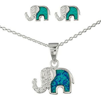 Best sterling silver elephant jewelry products on wanelo 925 sterling silver opal elephant pendant necklace with cz stones and matching stud earrings jewelry set aloadofball Image collections