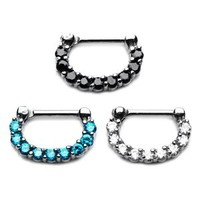 16 Gauge Surgical Steel Prong Set Jewel  Septum clicker NOSE  Ring -sept61061