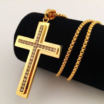 New Arrival Gift Stylish Jewelry Shiny Club Hip-hop Cross Rack Necklace (With Thanksgiving&Christmas Gift Box)[8439440771]