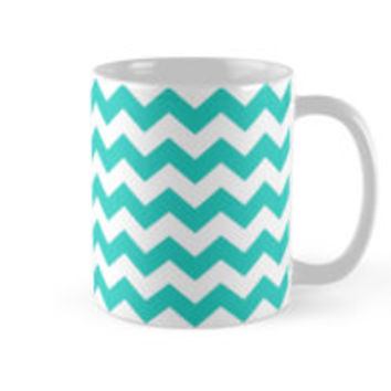 Turquoise and White Chevron Zigzag Pattern by TigerLynx