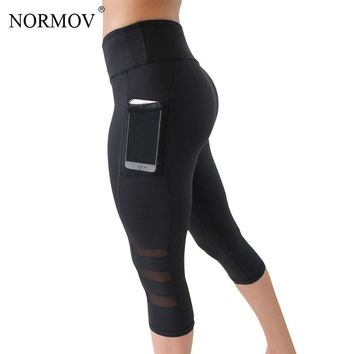 Womens Mesh Patchwork Capri Pants Fitness Sportswear Sexy Workout Leggings