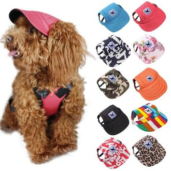 Pet Dog Cute Baseball Cap Hat Small Dogs Summer Outdoor Adjustable Hats with Ear Holes Headdress Accessories Dog Caps