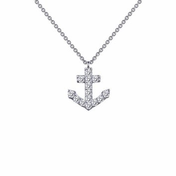 Sterling Silver Anchor Simulated Diamond Necklace