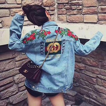 """Gucci"" Women Fashion Flower Embroidery Letter Pattern Print Long Sleeve Denim Cardigan Coat"