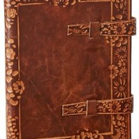 Floral Scalloped Design Italian Leather Lined Bound Journal with Tabs 6'' x 8.5''