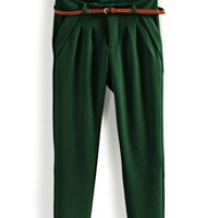 Candy Color Pleated Skinny Pants - OASAP.com