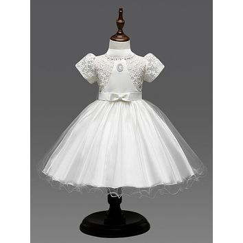 vintage lace flower girl dresses for weddings high neck white communion dress real photo pageant dresses for little girls