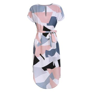 LOSSKY Women Midi Pencil Dress Summer Geometric Multi-color Mid-Calf Length Stand Collar Novelty Geometric Pencil Dress