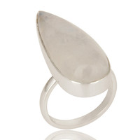 Natural Rainbow Moonstone Bezel Set Sterling Silver Statement Ring