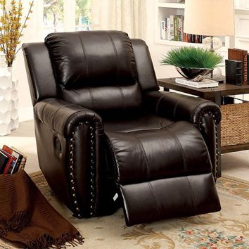 Top Grain Leather Glider Recliner Chair, Brown