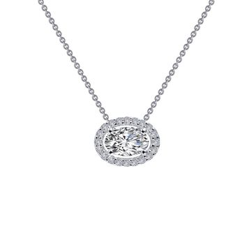 Lafonn Classic Sterling Silver Platinum Plated Lassire Simulated Diamond Necklace (0.63 CTTW)