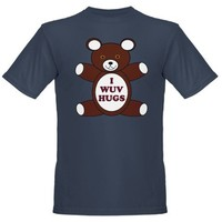 Supernatural 'I wuv hugs' dark T-shirt on CafePress.com