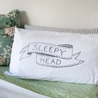 Sleepy Head Pillowcase Slip  Hand Screenprinted by TheArtRoomNZ