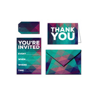 Printable Party Invitation Set - You're Invited - Colored Triangles - Blue / Pink