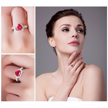 Heart Ruby Diamonds Ring - 925 Sterling Silver