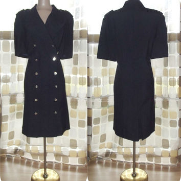 Vintage 80s Sexy Stewardess Uniform Dress Flight Attendant Air Hostess Military Chic Sz 8 1X XXL Plus SIze