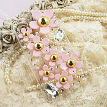 Flowers case lovely bling iphone 4 case iphone 4s case 3D