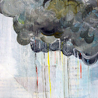 Gray rainy clouds 11x17 print of a multimedia painting of gray clouds with rainbow rain in a light white and blue sky