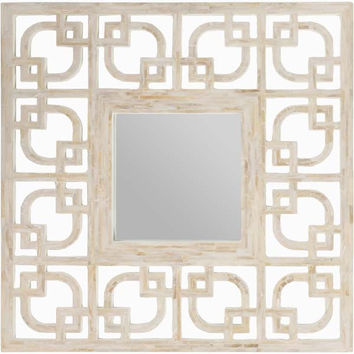 Overton Inlaid Mother of Pearl Wall Square Mirror Ivory - Home Decor | Surya