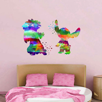 kcik2087 Full Color Wall decal Watercolor Lilo & Stitch Character Disney Sticker Disney children's room