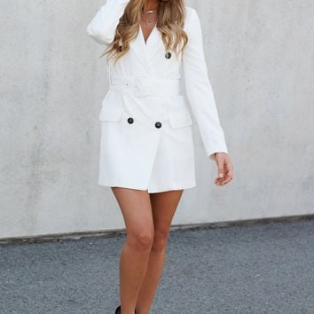 Taking Care Of Business Blazer Dress (Off White)