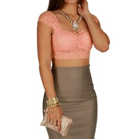 Sale-pink Lace Midriff Top