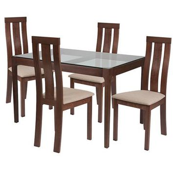 Gridley 5 Piece Walnut Wood Dining Table Set with Glass Top and Vertical Wide Slat Back Wood Dining Chairs - Padded Seats
