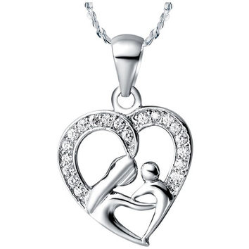 """Mother and Child"" Heart Necklace - Silver"