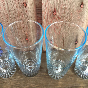 4 light blue Sapphire star ice tea tumblers, mid century tall ice-blue bar glasses, barware, vintage CHIC Light blue sapphire water glasses