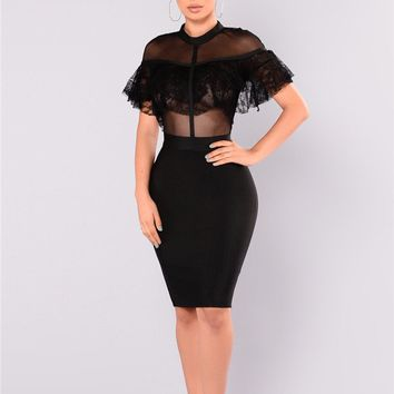 (A) Crochet Lace See -Through Bodycon Dress