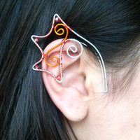 Red, Orange & Silver Plated Handmade Wire Wrapped Dragon Ear Cuffs With Red Faceted Glass Beads. Dragon Ears, Fancy Dress, LARP
