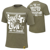 """Official WWE Authentic Men's Sami Zayn """"Underdog From the Underground"""" T-Shirt X-Large Green"""