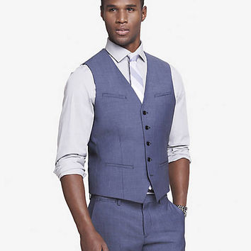 Blue Wool Twill Suit Vest from EXPRESS