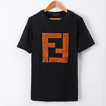 Fendi Summer Fashion New Bust Embroidery Letter Couple Short Sleeve Top Shirt Black