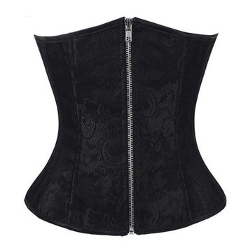 Women's Vintage Zipper Underbust Bustier Waist Cincher Bodyshaper Top Slimming Lace Up Boned Corset Jacquard Brocade