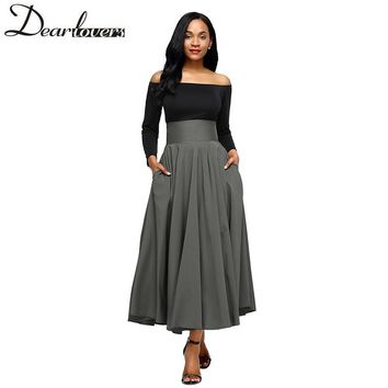 Autumn Winter Women Gray Retro High Waist Pleated Belted Maxi Skirt S-XXL