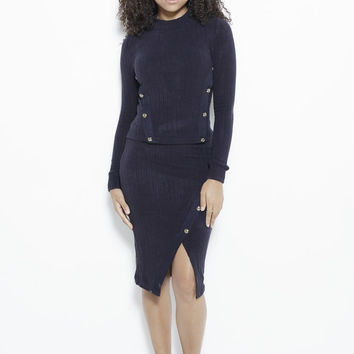 Just Intentional Knit Skirt-Navy