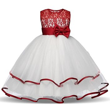 Baby Kids Girl Pageant Dress Princess Lace Flower Wedding Gown Children Ceremonies Dresses Teenage Girl Clothing 4 6 8 10 T