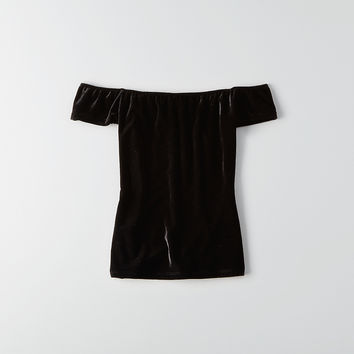 Don't Ask Why Off-the-Shoulder Velvet T-Shirt, Black